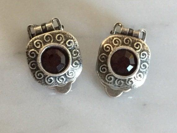 Burgundy Crystal Clip On Earrings