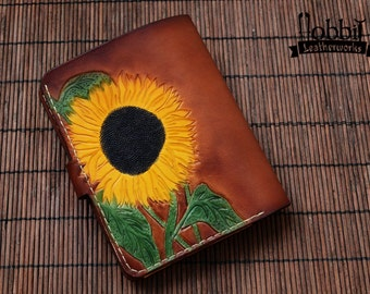 Sunflowers Wallet /Floral Wallet / Woman Wallet / Card Wallet / Brown Wallet