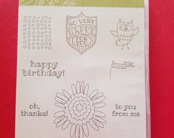 """New Stampin' Up Retired Stamp Set """"So Very Happy"""""""