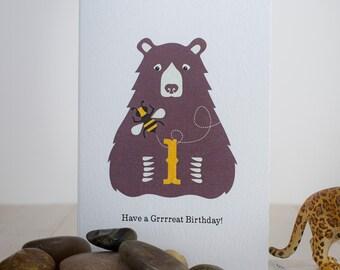 Bear & Bee First Birthday Card, Age One 1 Childrens Teddy Bear Greeting Card, 1st Birthday Animal Card, Kids Jungle Birthday Card