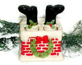 Christmas Salt and Pepper Set Vintage Christmas Red and Black Shakers Santa's Boots in the Chimney Novelty Christmas Decor Hostess Gift Idea