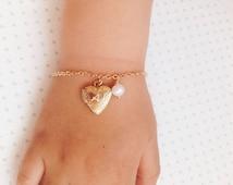 Heart Locket Bracelet / Flower Girl Bracelet / Girls Gold Heart Bracelet / Baby Girl Bracelet Gift for Niece. Mother Daughter Locket