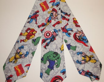Marvel Comic Avenger's Inspired Adult Neckties Heroes on Grey Sketch Background
