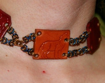 SALE ! Leather & Chainmaille Celtic Wolf Necklace ~ Red and Tan with Gold and Blue Chain