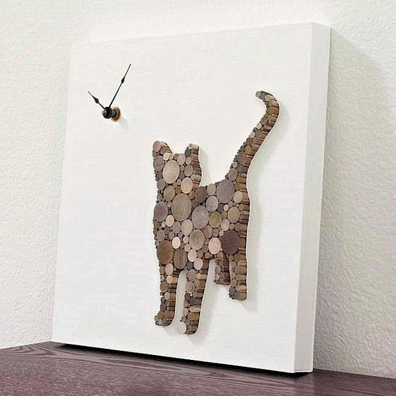 Modern Rustic Wall Decor : Rustic modern wall clock cat decor wood