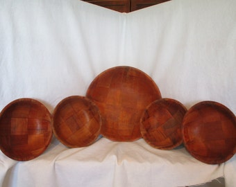 Parquet bowls, vintage salad bowls, retro wood bowls, weaved wooden bowls, farm house kitchen, parquet, wooden dishes, serving bowls