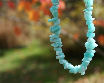 Amazonite Stone Chip Necklace with Sterling Silver Toggle Clasp