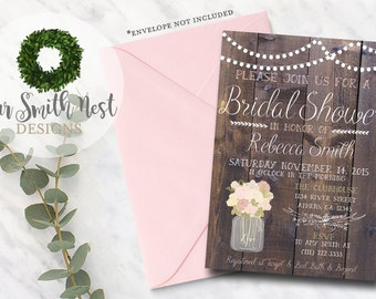 Rustic Vintage Blooms Bridal Shower Invitation, Printable, Wood Invitation, Rustic Theme, Floral Bridal Shower, Baby Shower, Bachelorette