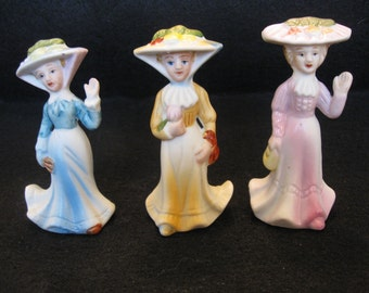 Set of 3 Porcelain Victorian Ladies Figurines
