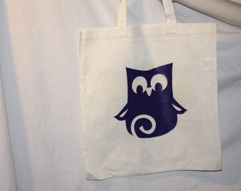 Purple Owl Cotton Tote Bag