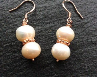 Fresh Water Pearl and Rose Gold Earrings