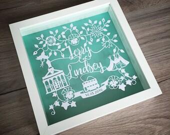 Personalised Wedding / Anniversary, Handmade Papercut (unframed)