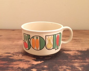 Vintage Soup Cup with Veggies