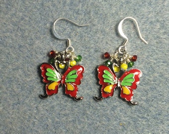 Bright red, green and yellow butterfly charm dangle earrings adorned with tiny red, green and yellow Chinese crystal beads.