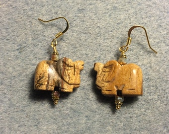Tan picture jasper gemstone elephant bead earrings adorned with tan Chinese crystal beads.
