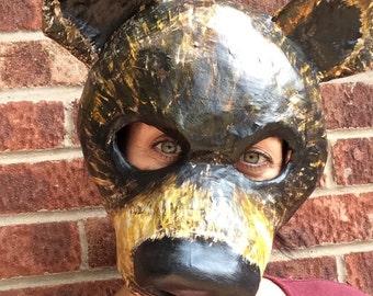 Bear mask/paper mache mask/ papier mache mask/ masquerade