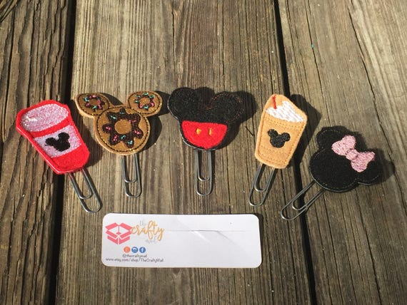 Mouse Fanatic Planner Clip/Paper Clip/Feltie Clip Set Of 5. Coffee Planner Clip. Character planner clips. Inspired planner clips