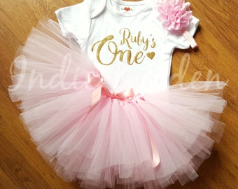 Baby tutu 1st Birthday outfit birthday pink personalised gold silver one set flower headband photo prop cake smash