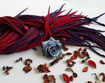 "Wool Dreadlocks Dreads Full Set DE "" Currant Paradise "" Double Ended"