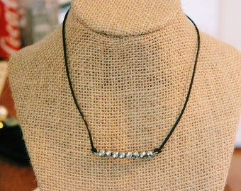 Leather Disco Beads Necklace