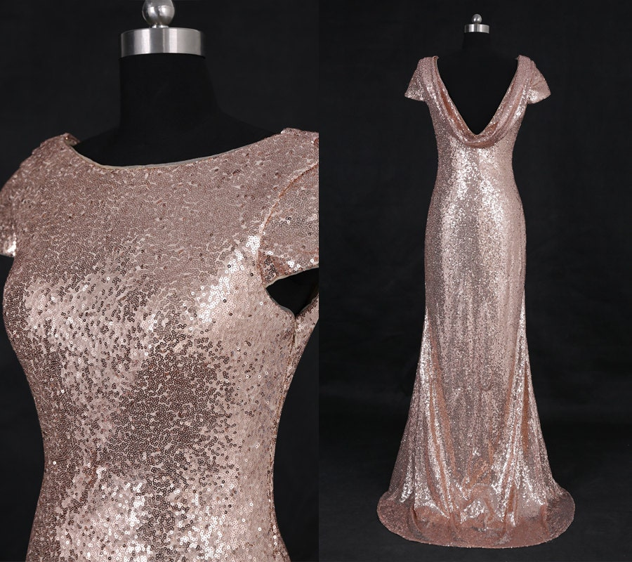 Rose gold pink sequin bridesmaid dresses long sequins beading for Pink and gold wedding dress