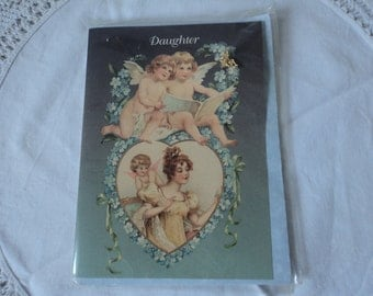 Vintage daughter card with an attached gold plated guardian angel pin (00539-00540)