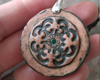 Copper tone Polymer Clay Amulet with Emerald facet