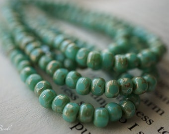 Turquoise Tricas, Czech Beads, Beads, N2016