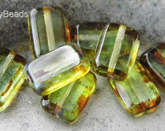 Olivine, Rectangle Beads, Czech Beads, Beads, sbp.t5050