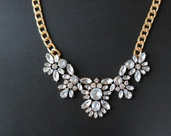 vintage style clear crystal statement necklace,bib necklace,bridal jewelry,bridesmaid jewelry