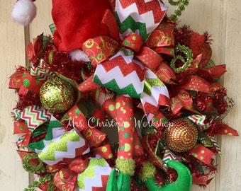 Christmas wreath, elf wreath, deco mesh Christmas wreath, character wreath, elf legs, deco mesh wreath, elf hat wreath