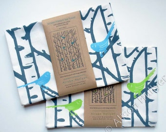 Tea Towel - Silver Birch Trees & Birds screen-printed (blue or green)