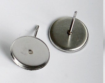 10pcs--Stainless Steel Earring Stud, for 10mm Cabochons (B47-6)