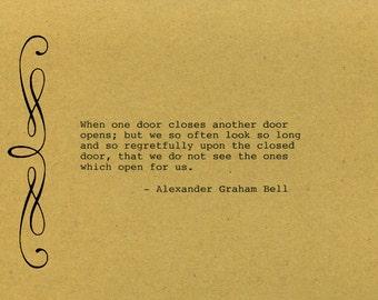 Alexander Graham Bell Quote Made on Typewriter  Art Quote Wall Art - When one door closes another door opens but we so often look so long