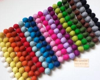 50 Wool Felt Balls (2cm) Choose Your Colors.