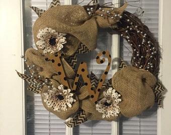 Personalized Wood & Burlap Wreath