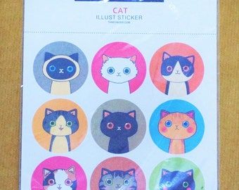 Round Cat Label Stickers (2 sheets x 9 unique stickers each)