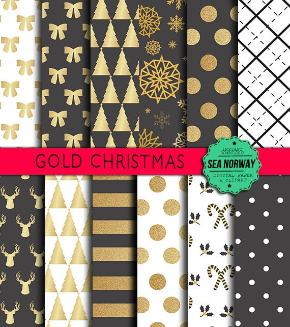 Christmas Digital paper, gold and black christmas paper, patterns, christmas backgrounds,scrapbook papers,300 DPI -12 x 12 inch, JPG /406