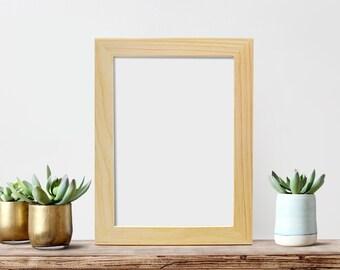 8x12 Picture Frame Glass and Backing Unfinished wood Frames, Craft Frames, Handmade, Art Frame, Photo Frame, Poster Frame