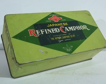 Vintage Japanese Made Refined Camphor Tea Tin - FREE SHIPPING!!!