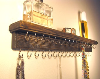 """18"""" Wood Jewelry Organizer With Shelf - 34 Brass Hooks, Reclaimed wood, Wall Mounted Display Necklace Holder Storage Rack, Wall Hanging"""