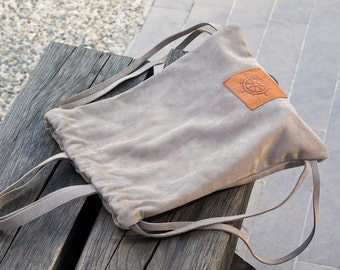 Woman backpack, gray suede backpack, summer backpack, soft leather backpack, simple backpack - ready to ship