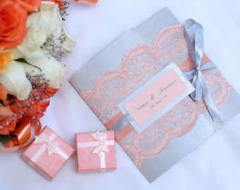 Lace trifold wedding invitation