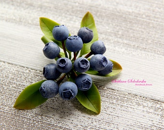 Нandmade brooch with blueberries. Brooch of cold porcelain. Flower brooches Floral Brooch Blueberries cold porcelain