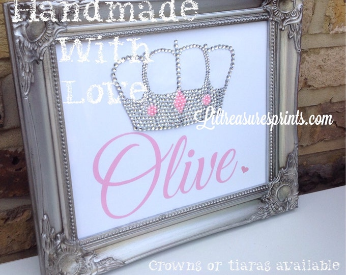 Personalised crystal crown framed print, perfect gift for newborns, birthdays, christening, sparkle, quote prince | princess