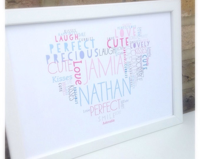Personalised heart or star shaped word cloud print | Wide variety of colours | Great for children | Birthday |Nursery | Any wording