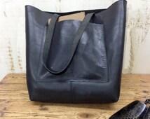 Sale!!! Black leather bag Tote bag Sturdy leather tote bag Large tote  Front Pocket Leather messenger Tote bag shopper tote Crossbody option
