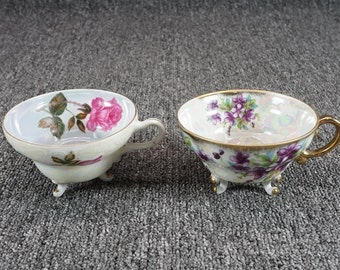 Vintage Pair Of Porcelain Footed Cups