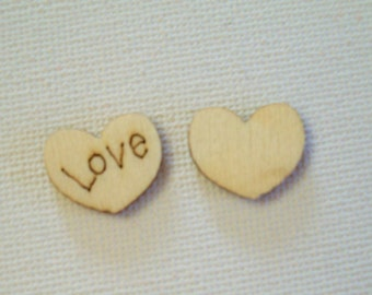 20 LOVE Hearts, Wood Embellishments, Wooden Hearts, 15mm Sewing, Knitting, Scrapbooking Supplies, Crochet Notions, Wood Love Heart, Crafts