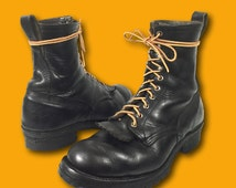 Vintage 70s RED WING Black Leather Lace Up Work Outdoor Boots Sz 9.5 E